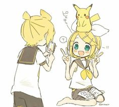 Rin, Len and Pikachu!!! So kawaii