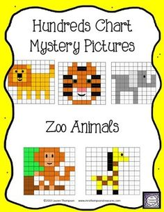 Hundreds Chart Mystery Pictures - Zoo Animals! This is a set of 5 fun ...