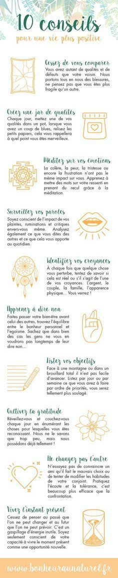 Motivation Quotes : Infographie : 10 conseils pour une vie plus positive - Bonheur au naturel. Vie Positive, Positive Attitude, Positive Affirmations, Positive Quotes, Zen Attitude, Positive Mindset, Miracle Morning, Burn Out, Quote Citation