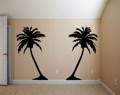 Two Hawaiian Coconut Trees Artwork -  Tropical Inspired - Surf Room - Vinyl wall art decals stickers by 3rdaveshore