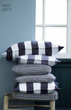 #blue #cushions #stripes