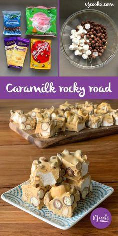 Easy recipe Caramilk rocky road - Only 4 ingredients - VJ cooks - Früchte im Garten Xmas Food, Christmas Cooking, Christmas Sweets, Christmas Dishes, Yummy Treats, Sweet Treats, Yummy Food, Delicious Recipes, Baking Recipes