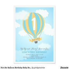 Beautiful Baby Blue and Yellow Hot Air Balloon Birthday Baby Boy Party Invite with a ballon high up in the air on a blue sky with lovely white clouds