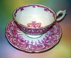 Coalport Pink on White Motif Tea Cup and Saucer Set