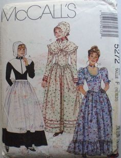 Pilgrim, Prairie or Colonial Dress Costume Pattern - McCall's 5272 - Sizes 16-18-20, Bust 38 - 42, Uncut by Shelleyville on Etsy