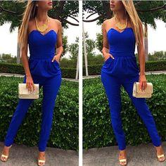 Sexy blue jumpsuit