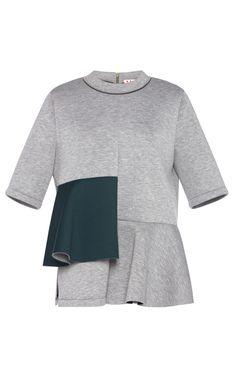 Grey Bonded Jersey Short Sleeve Top by Marni - Moda Operandi
