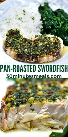 Pan-Roasted Swordfish is a restaurant-quality dinner simply and easily made at home. This dish is ready in less than 20 minutes and is buttery, juicy, and super tender! #fish #swordfish #easydinner #30minutemeals #fishrecipes