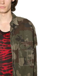 faith connexion - men - casual jackets - camouflage print military canvas jacket