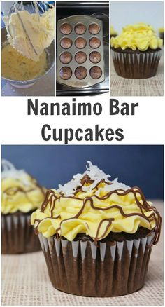 Nanaimo Bar Cupcakes - So Good! **I made a brownie mix with chopped pecans, almonds and shredded coconut. I used 1 scoop brownie mix, a coconut covere Cupcake Recipes, Baking Recipes, Cupcake Cakes, Dessert Recipes, Nanaimo Bars, Köstliche Desserts, Delicious Desserts, Chocolate Cake Mixes, Chocolate Cups