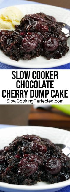 Decadent 3 Ingredient Slow Cooker Chocolate Cherry Dump Cake