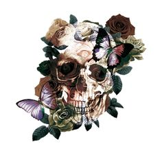 floral skull tattoos + Tattoo Ideas / skull tattoos for women ` skull tattoos for men ` small skull tattoos ` sk Floral Skull Tattoos, Small Skull Tattoo, Skull Tattoo Flowers, Flower Skull, Tattoo Fairy, Tattoo Drawings, Art Drawings, Zealand Tattoo, Skull Wallpaper