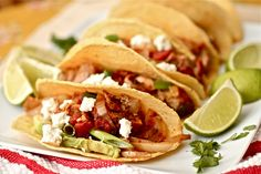Looking for an easy alternative to your classic pork tacos? Try our Thai Pork Shredded Tacos with Sriracha Slaw. These tacos are exploding with flavor from the unique combination of the red pepper, ginger, honey and Sriracha Slaw. Pork Recipes, Slow Cooker Recipes, Mexican Food Recipes, Crockpot Recipes, Cooking Recipes, Healthy Recipes, Ethnic Recipes, Tacos Crockpot, Mexican Dishes