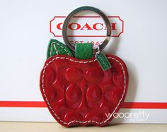 Authentic COACH Red Patent Leather Apple Keyfob Picture Photo Frame Keychain (: