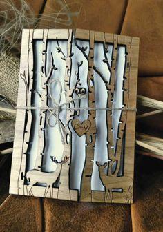 Einladungskarten - Einladung zur Hochzeit , Holz Hochzeitskarten - ein Designerstück von AmazingWoodCraft bei DaWanda
