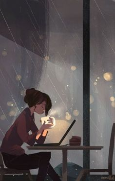 Zeichnung junge Frau sitzt vor Laptop trinkt Tee ... draußen Regen