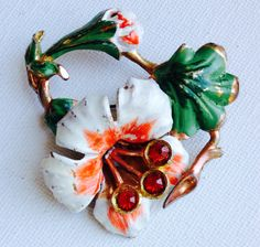 Art Nouveau enamel and rhinestone flower by KarelianStAntiques, $48.00