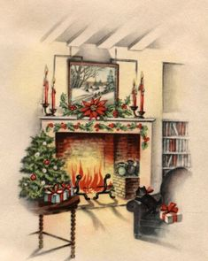 Vintage Christmas Card Interior Fireplace Scene with Cat Christmas Kitten, Christmas Love, Retro Christmas, Christmas Pictures, Christmas Holidays, Christmas Ideas, Father Christmas, Christmas Projects, Vintage Greeting Cards