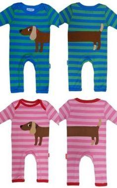 Toby Tiger Organic Sausage Dog Boy Applique Sleepsuit: Amazon.co.uk: Baby