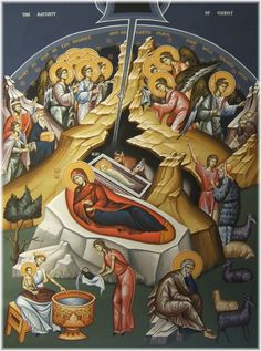 Icon of the Nativity of the Lord (Christmas) - c. Byzantine Icons, Byzantine Art, Feasts Of The Lord, The Nativity Story, Life Of Christ, Jesus Christ, Christian Symbols, Light Of The World, Religious Icons