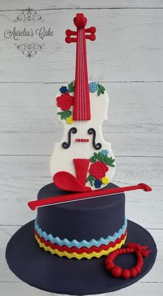 Here is my piece for Music Around the World – Cake Notes 2017 Collaboration I was born in a small town in south-west part of Poland, always loved mountains and freedom they give, so my piece, the violine is inspired by folk music and culture of. Novelty Birthday Cakes, Homemade Birthday Cakes, Novelty Cakes, Music Themed Cakes, Music Cakes, Violin Cake, Bolo Musical, Piano Cakes, Fiesta Cake