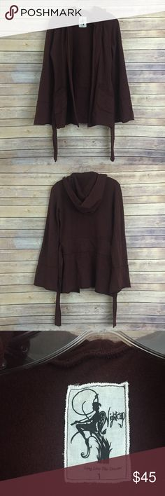 """Nightcap belted bell sleeved maroon cardigan, XS This gorgeous ultra-soft belted cardigan sweater is a maroon color and a size 1 from Nightcap Clothing.  It will fit a XXS to XS and probably a Small too as measurements show it runs big in the sweaters.  Measures approx 18"""" flat across the bust when slightly open and is 28"""" long.  Bell sleeved and so comfortable with front pockets and a hood! Nightcap Sweaters Cardigans"""