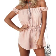 Summer Beach Off Shoulder Sexy Rompers Women Jumpsuit Elegant Pink Bodysuit Fashion Play suits Shorts Overalls plus size