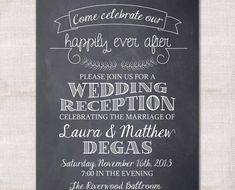 "~This invitation features a chalkboard style background with leaf branches and a sweet banner.~   I N C L U D E D W I T H Y O U R P U R C H A S E  Invitation template in your preferred format Color changes Wording changes Unlimited number of proofs  O U R P R O C E S S  #1) Purchase the item  #2) Please include all of the information and details for your event, that you would like included, in the ""Note to DarlinBrandoPress"" section of your order.  Also include how you would prefer your…"