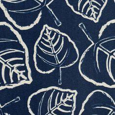 Indigo Blue and White Leaf Foliage Print Upholstery Fabric