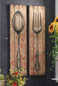 "St/2 French Country Spoon and Fork Wood-Plank Wall Decor 47"" Tall - Found at:  http://www.tuscanhomedecorandmore.com/servlet/the-1821/French-Country-Wall-decor%2C/Detail#"