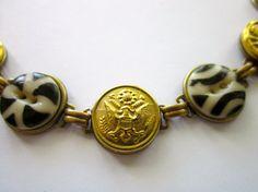 WEST POINT, ARMY antique button bracelet