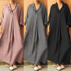 Plus Size Casual Long Sleeve Linen Cotton Dresses – fashiontia Abaya Fashion, Muslim Fashion, Fashion Dresses, Simple Dresses, Plus Size Dresses, Casual Dresses, Dresses Dresses, Dance Dresses, Sleeve Dresses