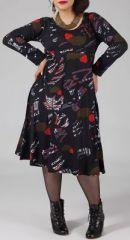Robe mi-longue Femme ronde Ethnique et Colorée Kaitlyn Noire est disponible sur le site www.akoustik-online.com.