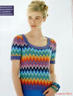 Джемпер с короткими рукавами и цветными жаккардовыми волнами