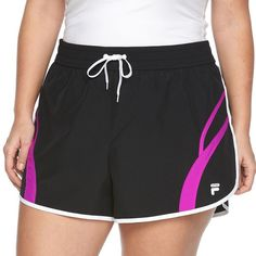 Plus Size FILA Sport® Perfect Running Shorts ($14) ❤ liked on Polyvore featuring plus size women's fashion, plus size clothing, plus size activewear, plus size activewear shorts, black, plus size, fila, womens plus size activewear, plus size sportswear and logo sportswear