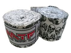 "MTF Muay Thai 180"" Boxing HANDWRAPS K1 Kickboxing MMA Boxing Fitness Gears , Skulls White. MTF Professional Hand Wraps. 180 Inches in Length. Comfortable Slightly Elastic Cotton. Perfect for Muay Thai K1 MMA Handwraps (Pair). Product of Thailand."