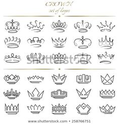 Lettering Fonts Discover Set of crowns in different styles. - Millions of Creative Stock Photos Vectors Videos and Music Files For Your Inspiration and Projects. Mini Tattoos, Body Art Tattoos, Small Tattoos, Heart Tattoos, Sleeve Tattoos, Key Tattoos, Tattos, Diadem Tattoo, Corona Tattoo