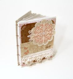 Shabby Chic Journal Pink Brown Victorian Coptic by SeamsVictorian, $50.00