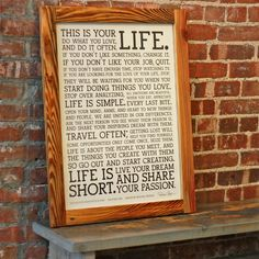 Holstee Manifesto Poster in Reclaimed Wood Frame
