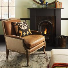 OKA Direct | Burford French-Style Leather & Oak Armchair - Brown | 1,390.00 retail as shown