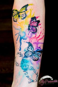 Watercolor butterfly tattoo