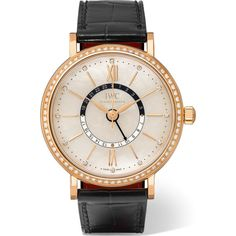 IWC SCHAFFHAUSEN Portofino Automatic Day & Night 37 alligator,... ($22,045) ❤ liked on Polyvore featuring jewelry, watches, owl jewelry, diamond jewellery, red gold watches, owl wrist watch and mother of pearl jewelry