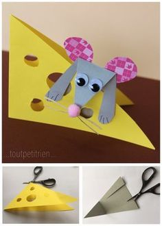 Little handmade mice with our waste paper. Easy Arts And Crafts, Crafts To Do, Paper Crafts, Animal Crafts For Kids, Diy For Kids, Tarjetas Diy, Mouse Crafts, Toddler Art, Printable Crafts
