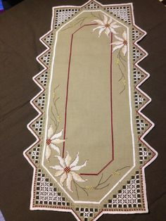 Beautiful Hardanger embroidered linen tablecloth by Inspiria, kr450.00