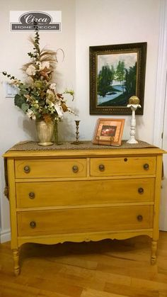 Beautiful Chest of Drawers, Annie Sloan Arles Yellow. Dark and Clear wax finish for contrast. www.facebook.com/...