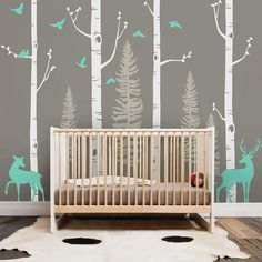 Birch Tree Wall Decal with Birds and Deer Baby Nursery Wall