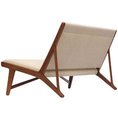 teak and linen settee by Hans Wegner - Denmark, 1950s
