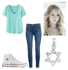 """""""Casual Day At School"""" by karaawesome30 ❤ liked on Polyvore featuring moda, Wrap, Jennifer Zeuner, Paige Denim y Converse"""