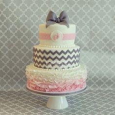 White, pink and grey cake