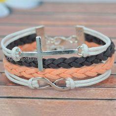 1x Weave Korean Cashmere Silver Tone Infinity Cross Charm Pendant DIY Bracelet | eBay